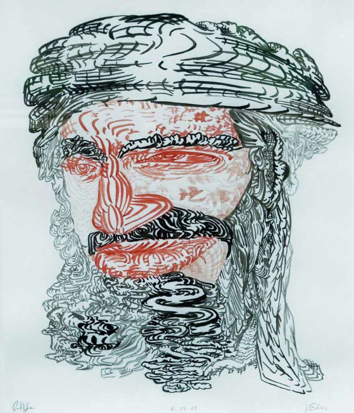 James Esber made a drawing from a well-known media image of Osama bin Laden and then invited 157 people to make a drawing from his original drawing. Some are on display at the Aldrich Contemporary Art Museum in Ridgefield. Photo taken Tuesday, May 3, 2011
