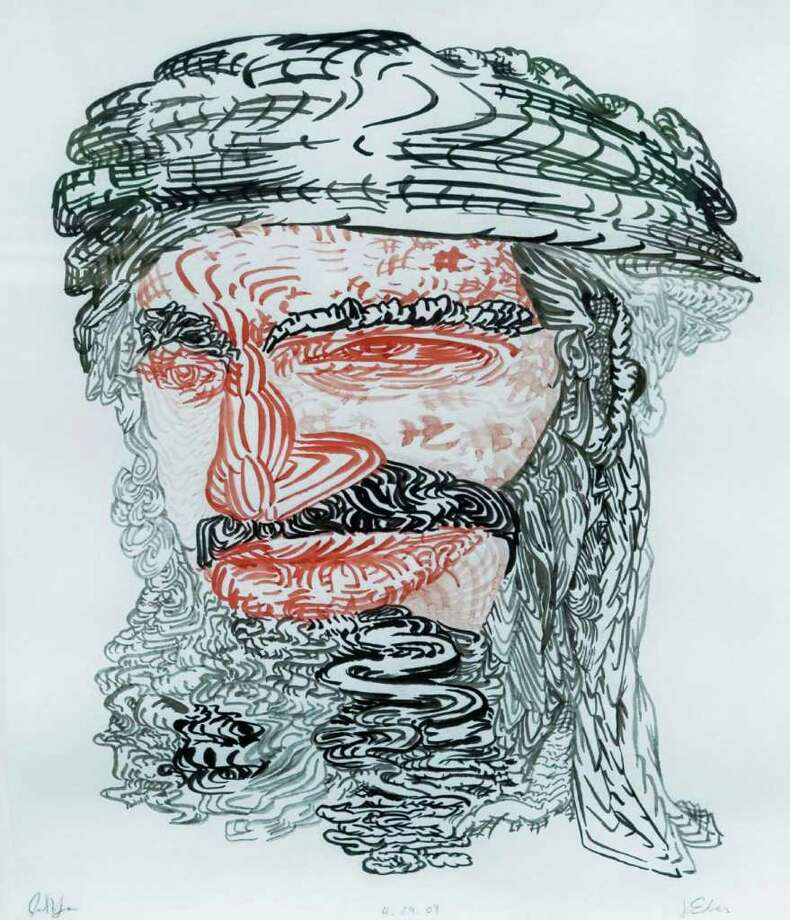 James Esber made a drawing from a well-known media image of Osama bin Laden and then invited 157 people to make a drawing from his original drawing. Some are on display at the Aldrich Contemporary Art Museum in Ridgefield. Photo taken Tuesday, May 3, 2011 Photo: Scott Mullin / The News-Times Freelance