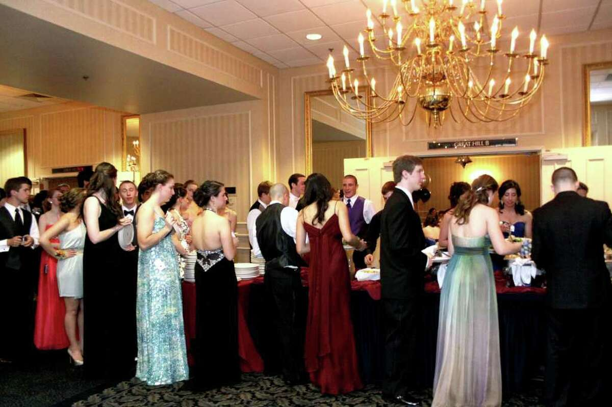The buffet area became a popular destination at the Newtown High School Senior Prom. Photo take 04/30/2011.