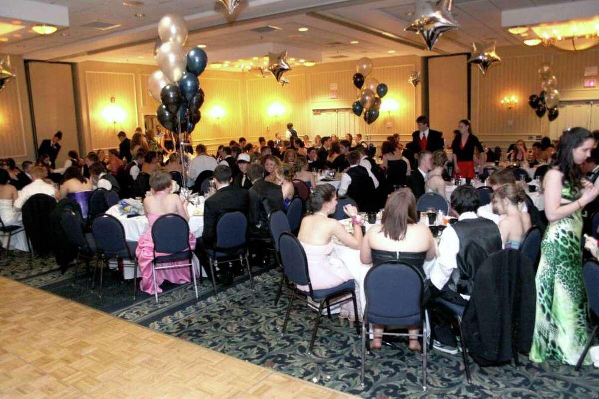 Newtown High School Senior Prom goers sit down for dinner. Photo taken 04/30/2011