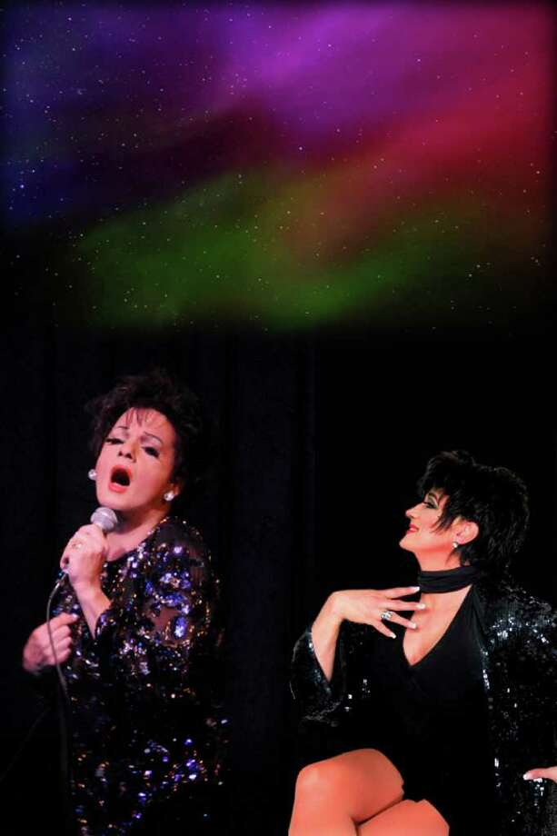 "Two guys dressed as women impersonating Liza Minnelli and Judy Garland will bring their popular NYC show to The Palace Theatre in Danbury this weekend. ""Judy & Liza,"" which regularly packs the house at Don't Tell Momma's cabaret theater in Manhattan, will be presented Saturday, May 7, at 8 p.m. Equal parts tribute and parody, it stars Tommy Femia as Judy and Rick Skye as Liza, with musical direction by David Maiocco. Photo: Contributed Photo / The News-Times Contributed"