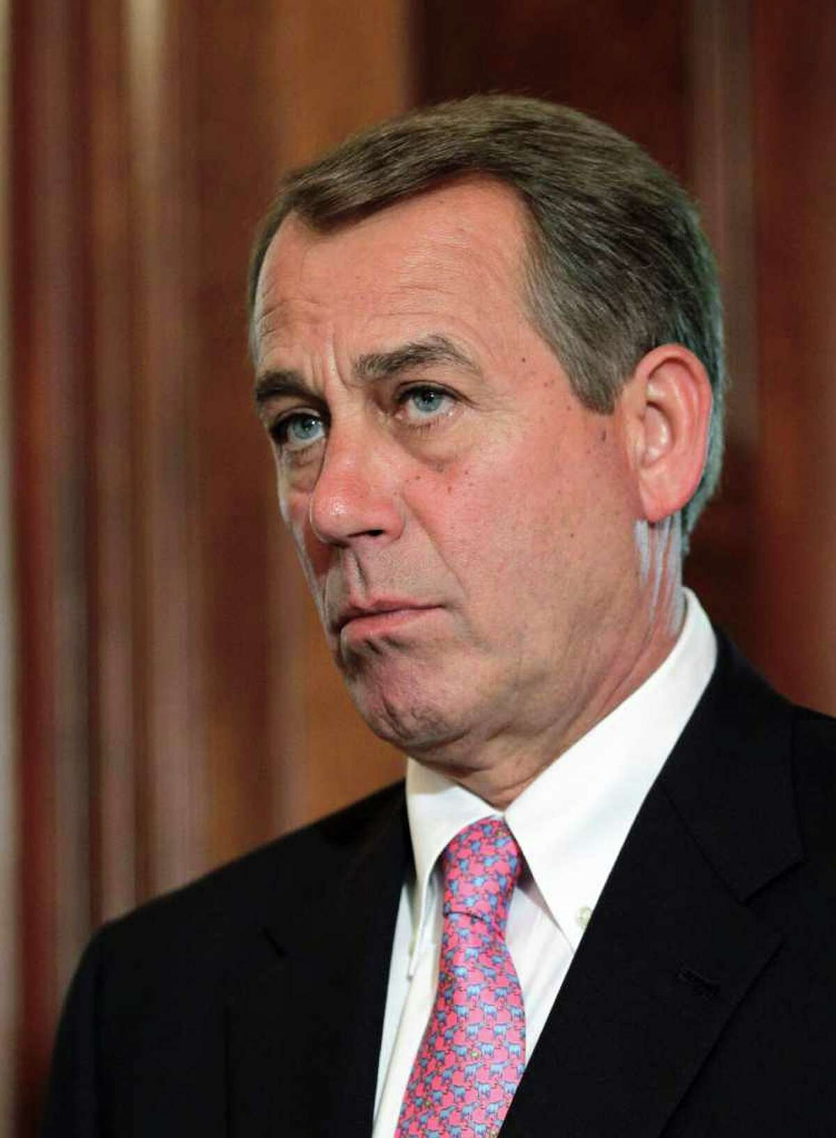 House Speaker John Boehner of Ohio listens on Capitol in Washington, Monday, May 2, 2011, during a news conference where he talked about the operation that took down the mastermind of the Sept. 11, 2001 terror attacks on the U.S. (AP Photo/J. Scott Applewhite)