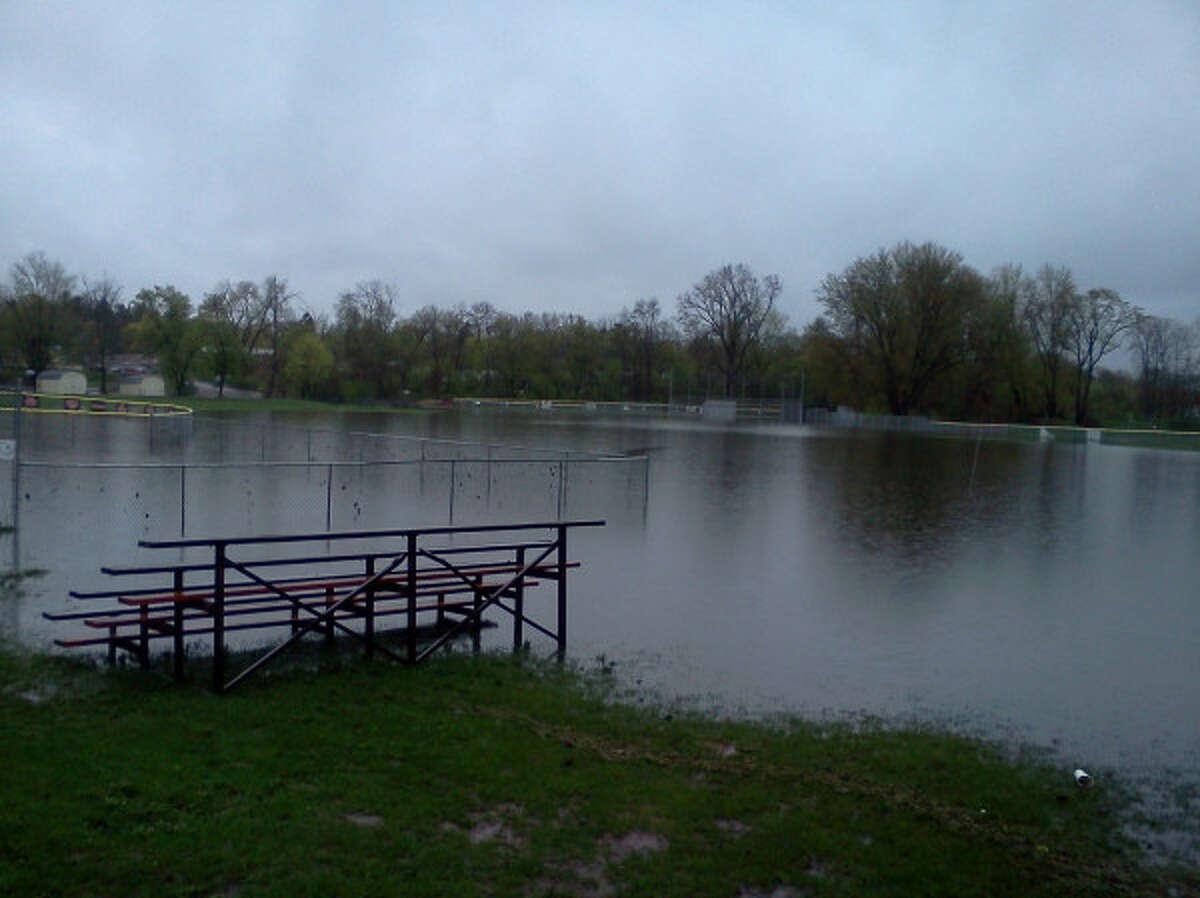 A Schuylerville ballfield is submerged (Dennis Yusko/Times Union)