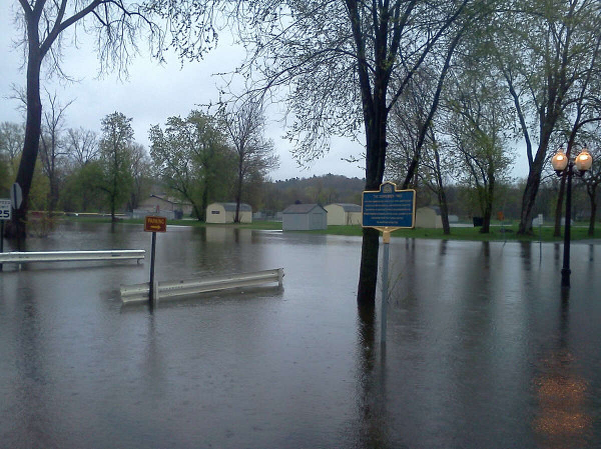 Park in Schuylerville where British General Burgoyne surrendered during the Revolutionary War is now submerged by the Hudson River. (Dennis Yusko/Times Union)