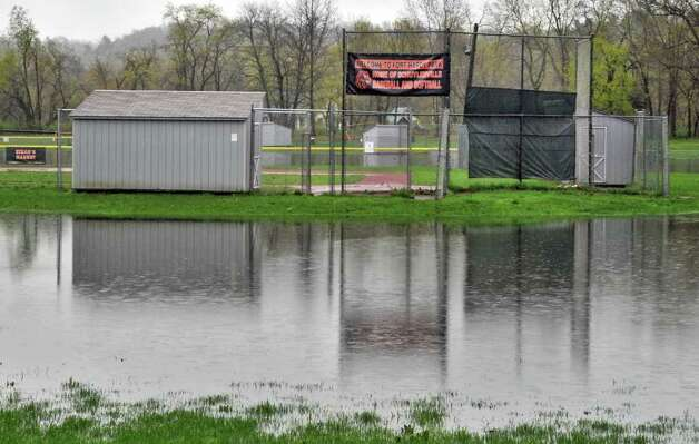 Fort Hardy Park lies flooded after the Hudson River once again overran low-lying areas in Schuylerville on Wednesday, May 4, 2011.  (John Carl D'Annibale / Times Union) Photo: John Carl D'Annibale / 00013036A