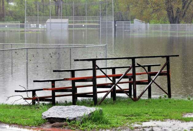 The baseball fiellds at Fort Hardy Park lie flooded after the Hudson River once again flooded low-lying areas in Schuylerville Wednesday afternoon May 4, 2011.  (John Carl D'Annibale / Times Union) Photo: John Carl D'Annibale / 00013036A