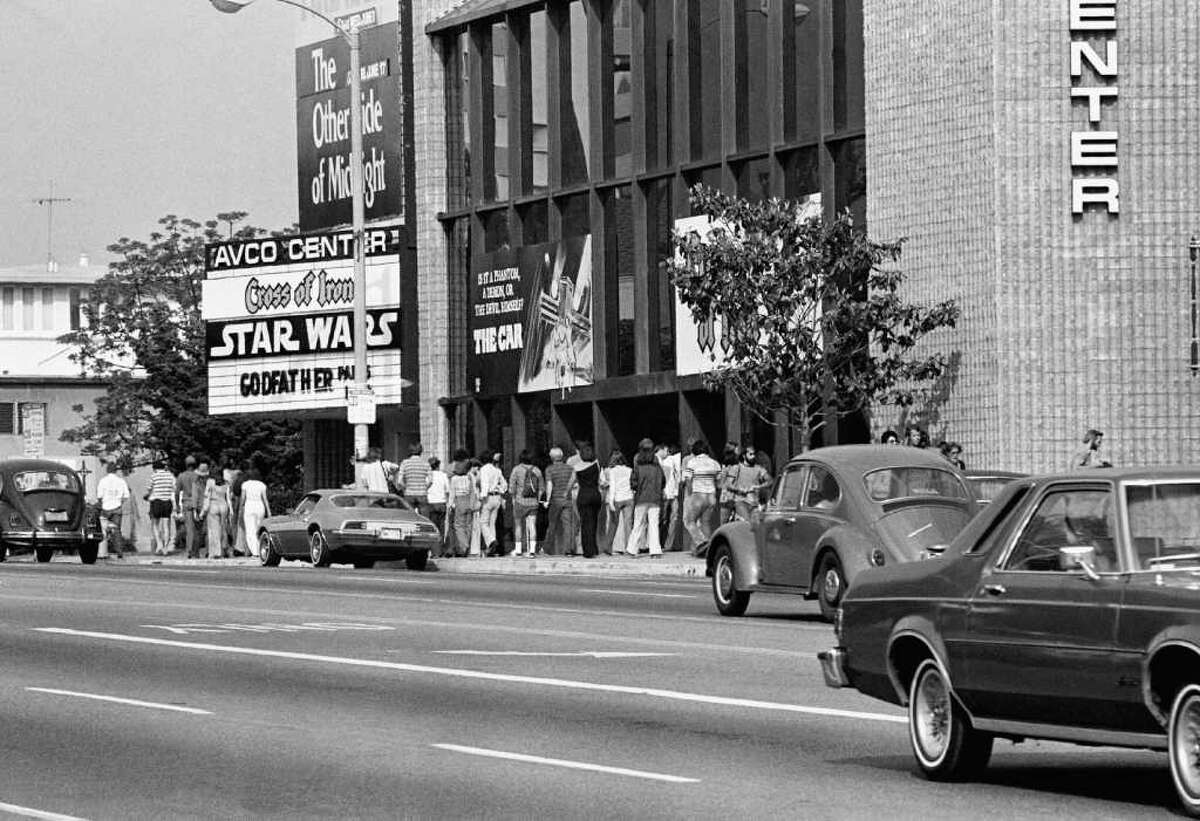 Theater goers waiting in lines here on June 7, 1977 at Avco Center Theater in Los Angeles to see the smash-hit movie,