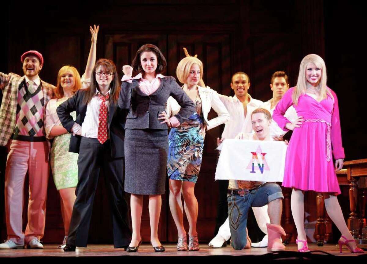 Newtown native Hannah Rose DeFlumeri (center, with her fist clenched) is playing the scheming villain Vivienne in the national tour of
