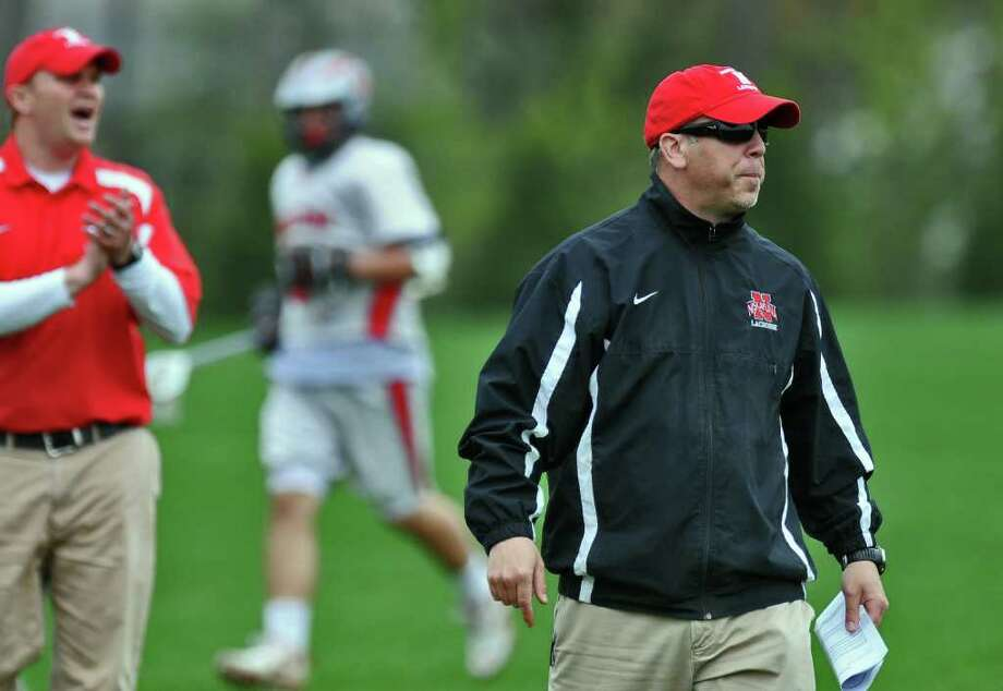 Niskayuna High School lacrosse coach Mike Vorgang leads his team during a game against Guilderland on Tuesday May 3, 2011 in Niskayuna, NY.   ( Philip Kamrass / Times Union ) Photo: Philip Kamrass