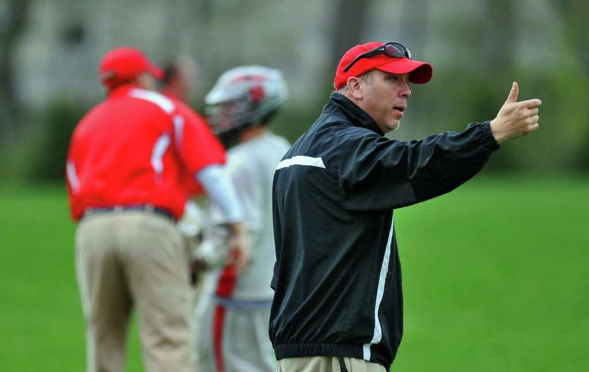 Niskayuna High School lacrosse coach Mike Vorgang leads his team during a game against Guilderland on Tuesday May 3, 2011 in Niskayuna, NY. ( Philip Kamrass / Times Union )