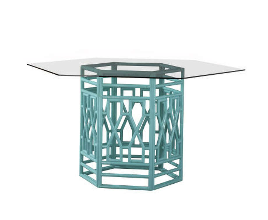 Lilly Pulitzer's Seagate gathering-height table in Shorely Blue. Photo: Lilly Pulitzer