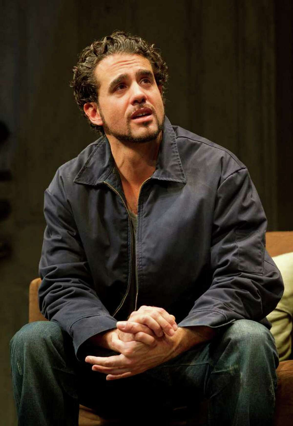 """In this theater publicity image released by Boneau/Bryan-Brown, Bobby Cannavale is shown in a scene from, """"The Motherf----- With the Hat,"""" in New York."""