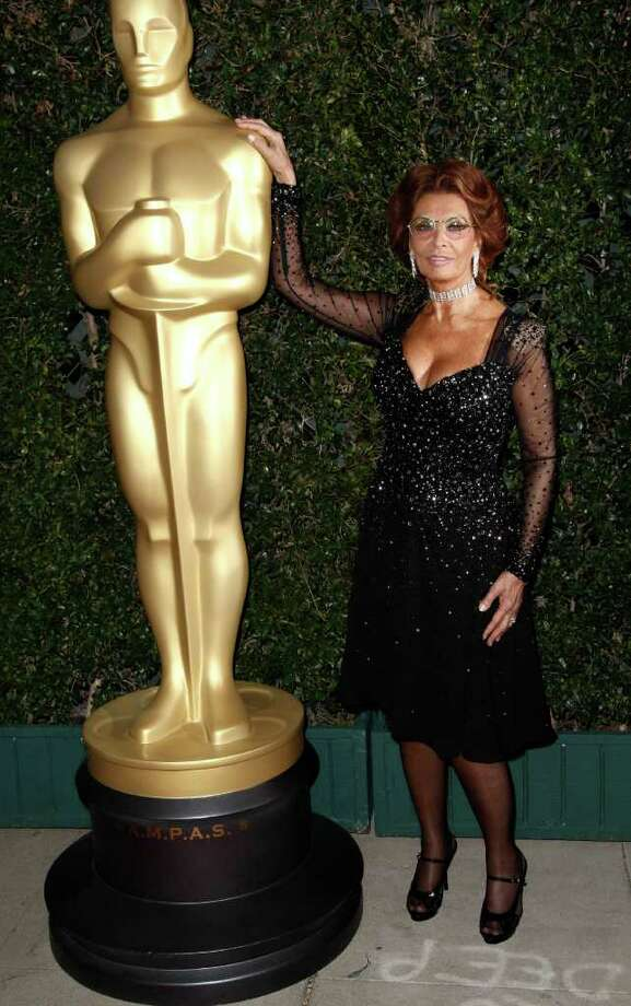 Actress Sophia Loren arrives at The Academy of Motion Picture Arts and Sciences Tribute honoring her in Beverly Hills, Calif., Wednesday, May 4, 2011.  Loren's life and career will be celebrated by friends and colleagues Wednesday. Photo: AP