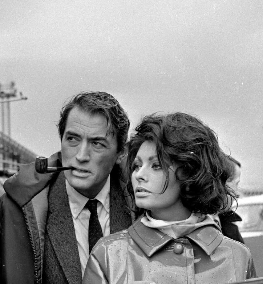 1st June 1965:  Sophia Loren and Gregory Peck (1916 - 2003) during the production of 'Arabesque' at Gatwick. Photo: Worger, Getty Images / Hulton Archive
