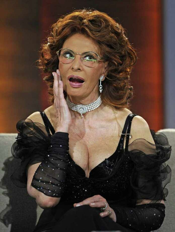 "Italian actress Sophia Loren gestures during the 187th edition of the TV show ""Wetten, dass..?"" (Let's Make a Bet) on February 28, 2010 in Erfurt, central-eastern Germany. AFP PHOTO DDP/ JOERG KOCH   GERMANY OUT Photo: JOERG KOCH, AFP/Getty Images / 2010 AFP"