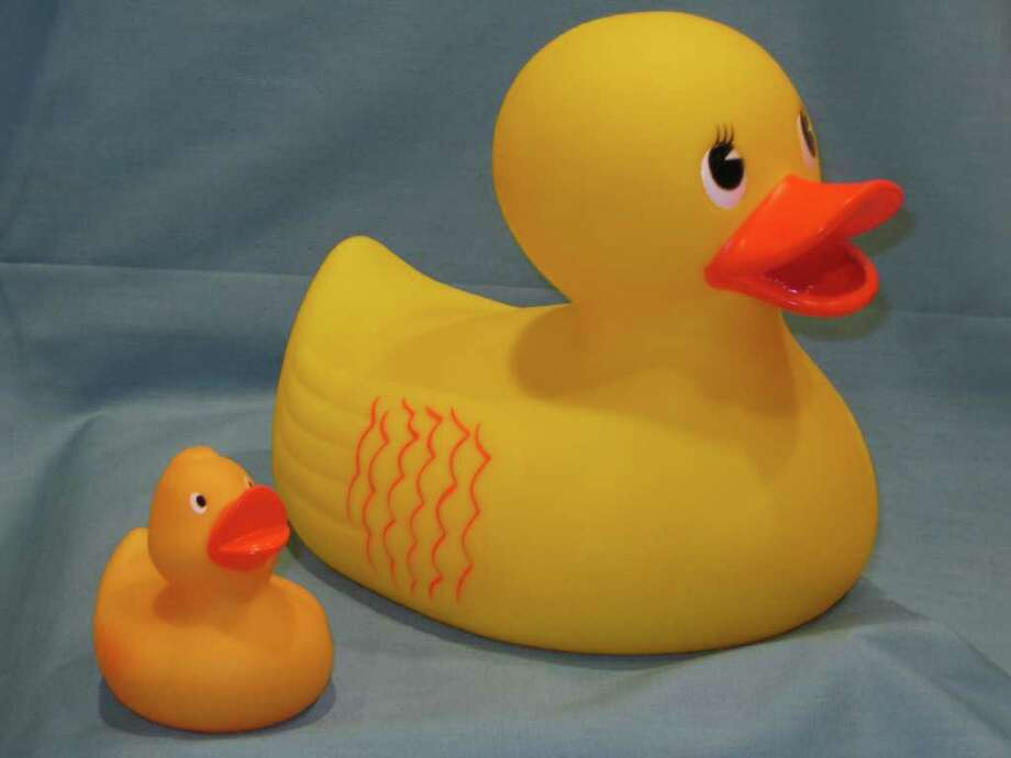 With the Duckie Derby fast approaching, large ducks are available for the event's duck-decorating contest. The small duck is a replica of racing ducks, and each race-ticket holder will get one. Photo: Contributed Photo / Fairfield Citizen contributed
