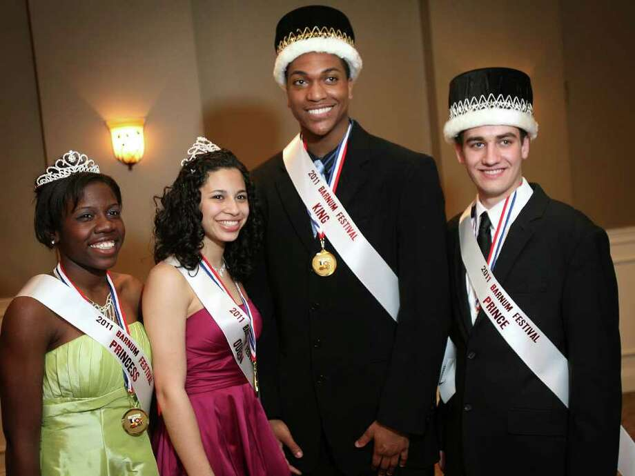 The 2011 Barnum Festival court from left; Kendra Thomas, Princess, from Central High School in Bridgeport, Paola Sanchez, Queen, from Foran High School in Milford,  Tyler Elliott, King, from Shelton High School, and Charlie Hron Weigle, Prince, from Masuk High School in Monroe, on Sunday, May 1, 2011. Photo: Brian A. Pounds / Connecticut Post