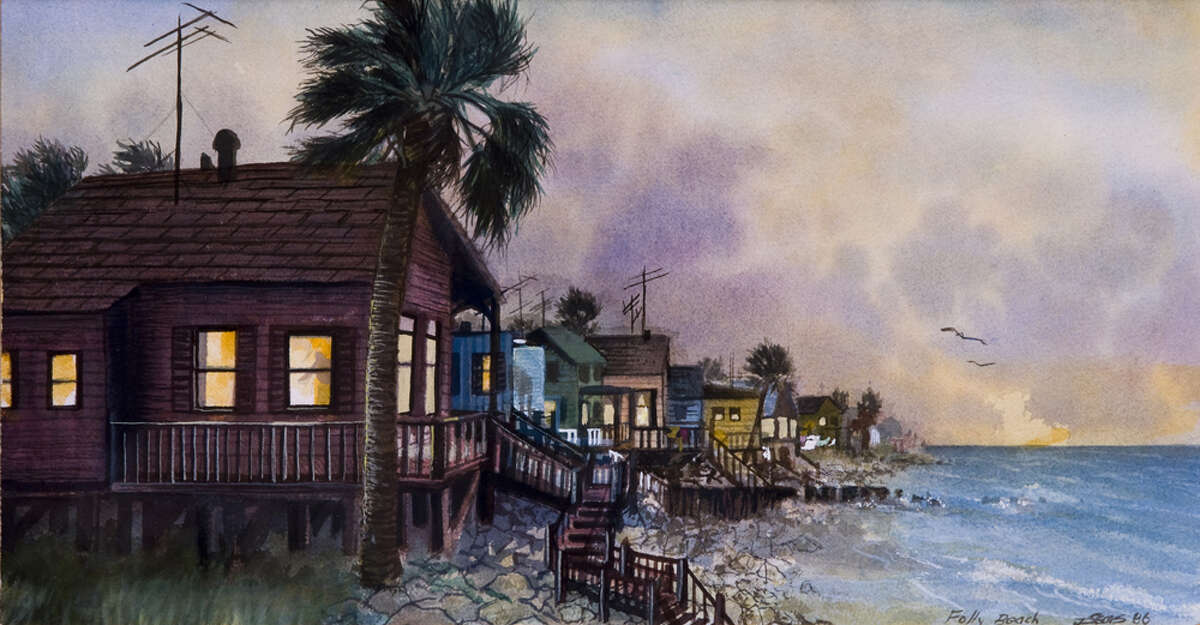 """""""Folly Beach,"""" a 1986 watercolor, is among the art inspired by the places Joe Sears has visited while touring with """"Tuna."""" These houses were lost in Hurricane Hugo. COURTESY RENDON PHOTOGRAPHY & FINE ART"""