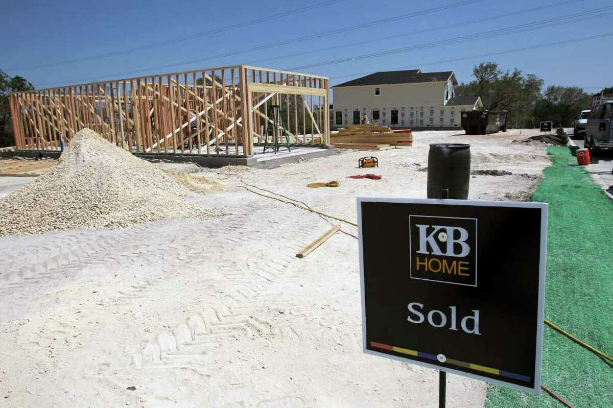 Homes are built on sold lots on Trilby Street as KB Home construction continues in the Bella Vista neighborhood off Potranco Road.