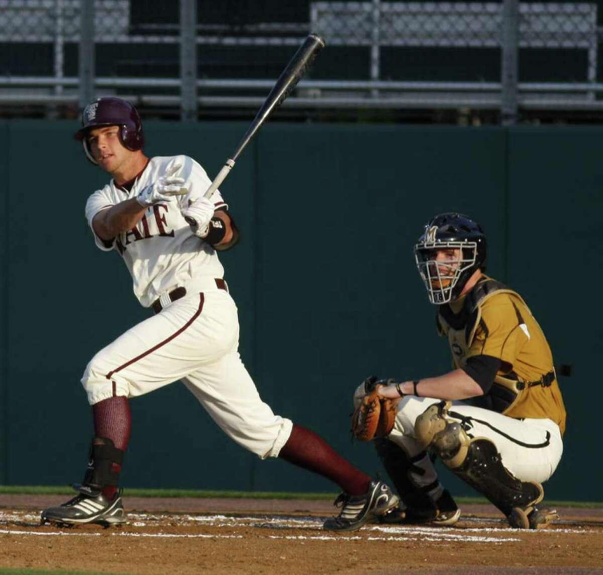 Texas State baseball player Casey (Ory) Kalenkosky in 2011 baseball action vs. Missouri.