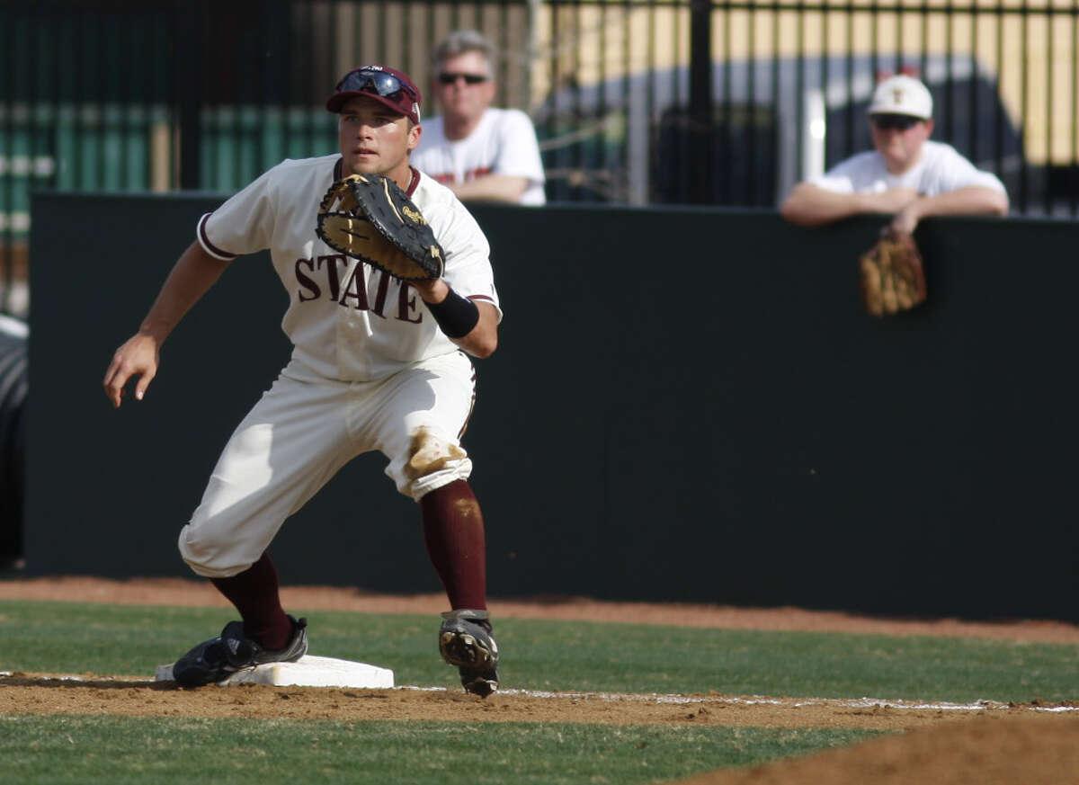 Texas State baseball player Casey (Ory) Kalenkosky in 2011 baseball action vs. Nebraska.