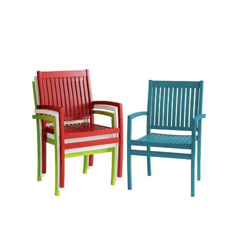 Rock Point stacking chairs are available in a crayon box of colors, including ocean; $99.95, www.pier1.com. / DirectToArchive