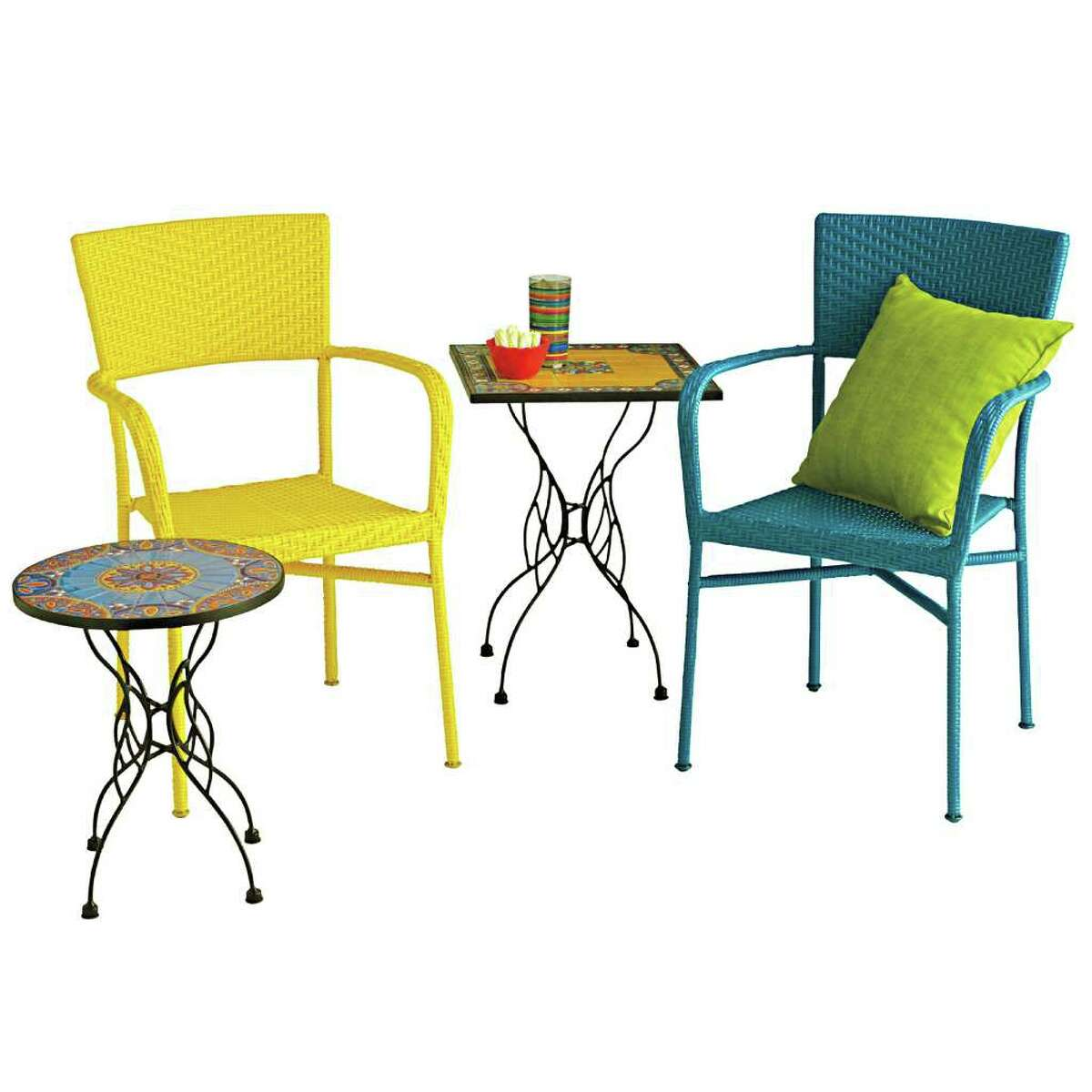 synthetic rattan yellow and blue chairs from Pier 1. $79.95. Taza round mosaic table, $89.95, Taza square mosaic table, $119.95, Pier 1.