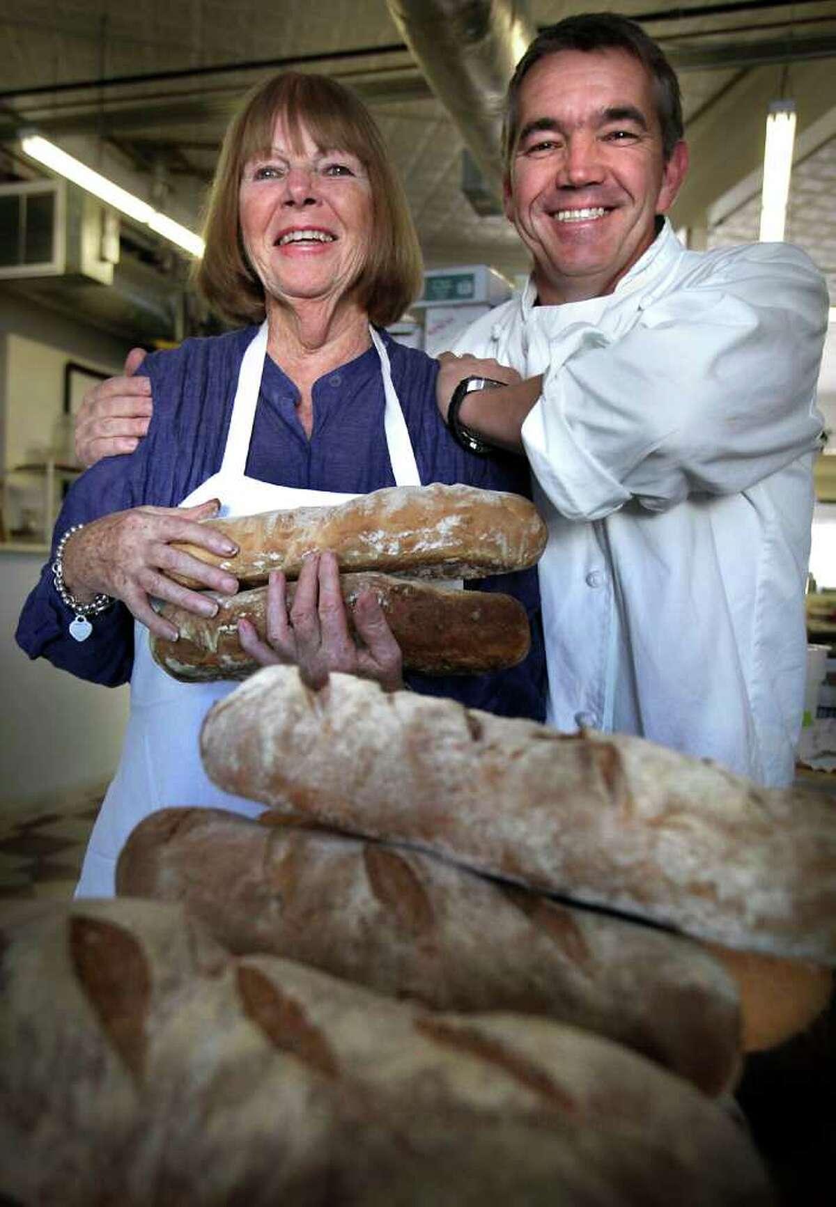 Damien Watel, owner of Bistro Vatel, and his mother Lucille Behey Watel, in her Bistro Bakery.