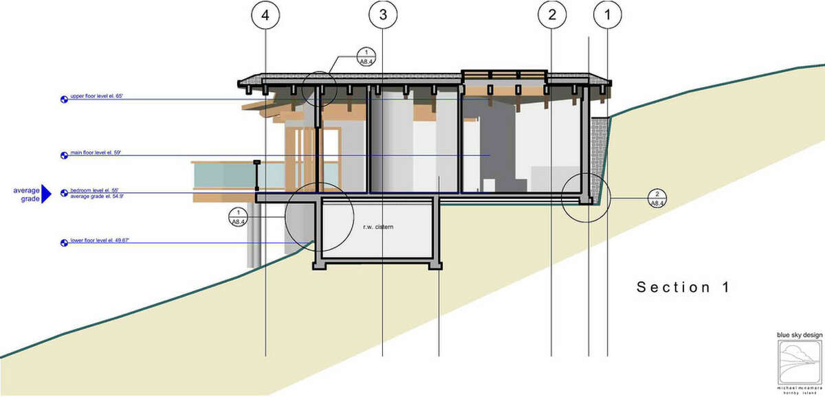 Home plan section showing the master bedroom, bathroom and rainwater cistern.