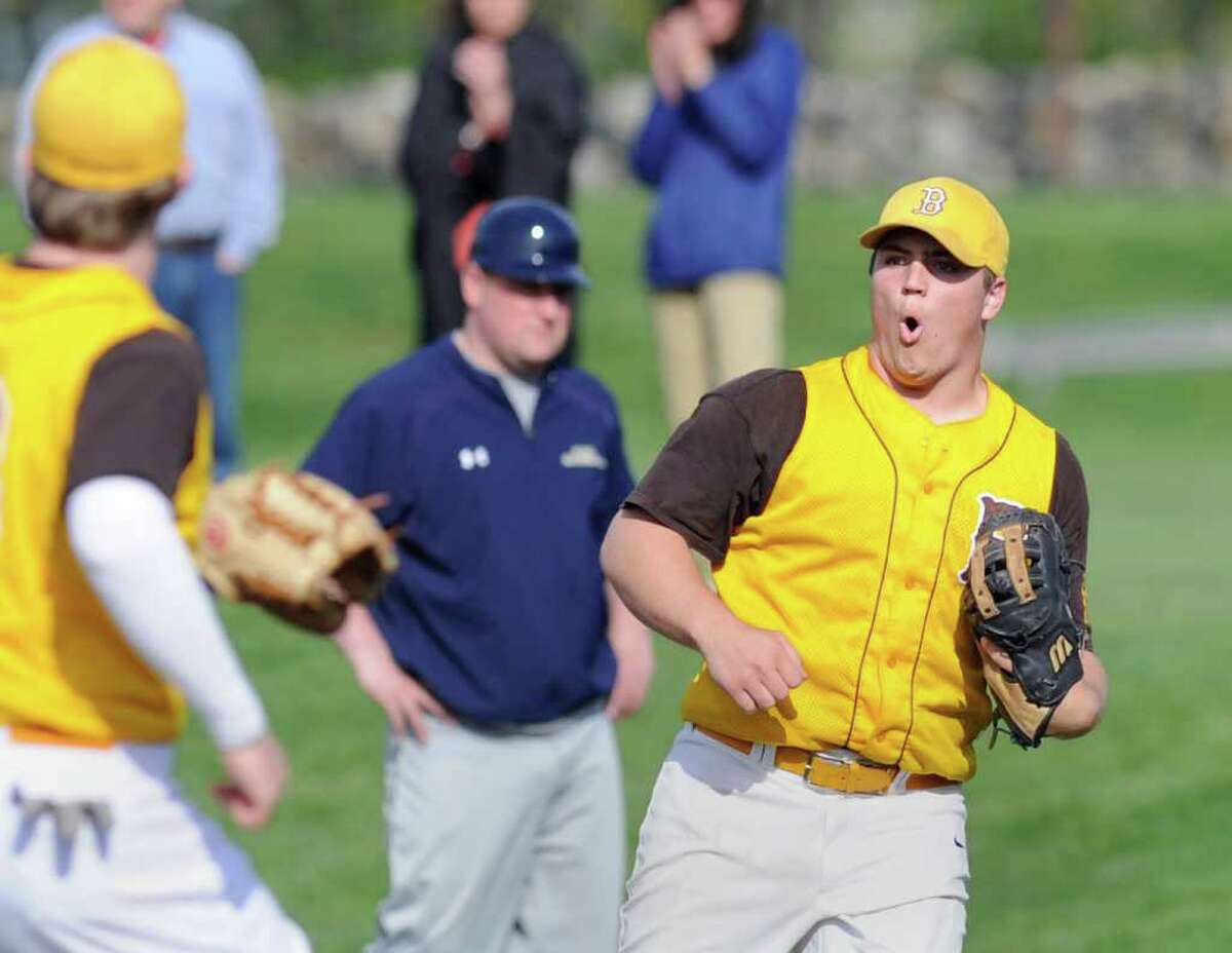 Will Preziosi of Brunswick School reacts after his team defeated King 2-0 High School boys baseball game between Brunswick School and King at Brunswick School, Greenwich, Friday afternoon. Preziosi who pitched seven innings, got the win.