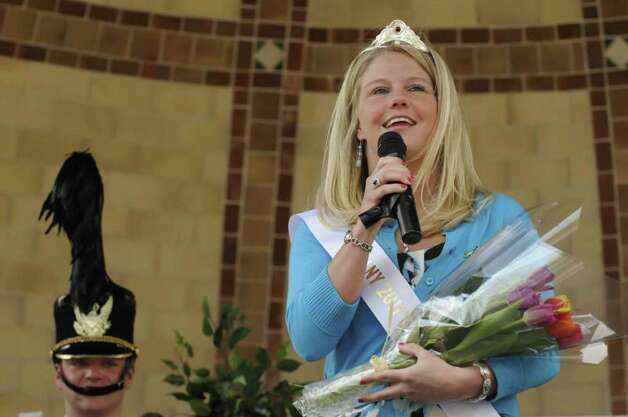 Karen Colehour of Colonie speaks after being announced as Albany Tulip Queen for 2011 at Washington Park.( Michael P. Farrell/Times Union ) Photo: Michael P. Farrell