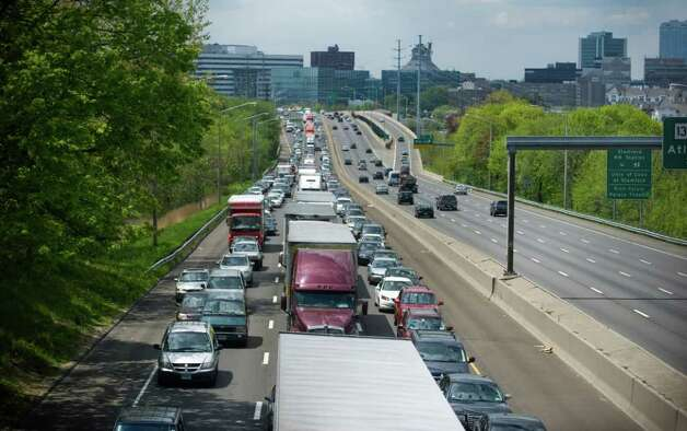 Traffic on I-95 north after a tractor-trailer accident shut down the northbound side for more than six hours in Stamford, Conn. on Saturday May 7, 2011. Photo: Kathleen O'Rourke / Stamford Advocate