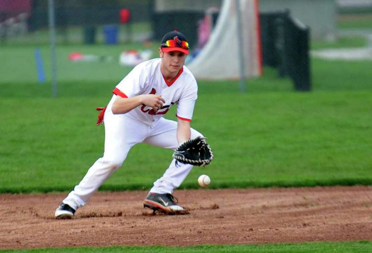 Greenwich's Louis Pulitano fields the ball during Wednesday's game at Greenwich High School on April 20, 2011.