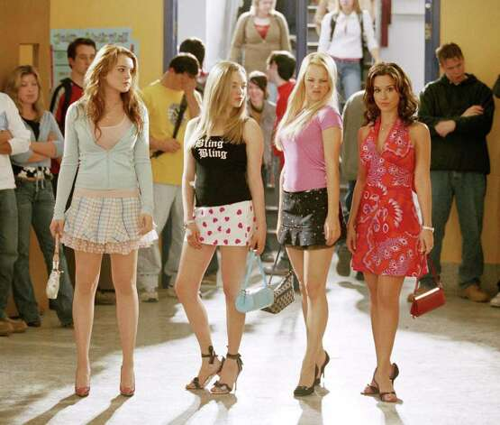 (Left to right)  Lindsay Lohan as Cady, Amanda Seyfried as Karen, Rachel McAdams as Regina and Lacey Chabert as Gretchen in Mean Girls.   (AP Photo/ Michael Gibson) Photo:  MICHAEL GIBSON, Associated Press / PARAMOUNT PICTURES