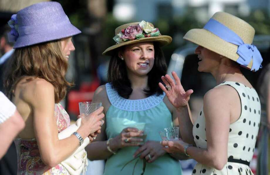 Participants enjoy the Pequot Library's Derby Day party on Saturday, May 7, 2011. Photo: Lindsay Niegelberg / Connecticut Post