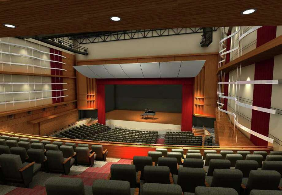 This artist's rendering shows the interior of the envisioned Greenwich High School auditorium and music instructional space. Photo: Contributed Photo, Greenwich Time / Greenwich Time Contributed