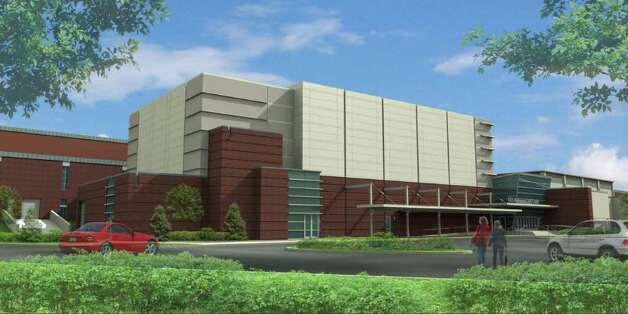 This artist's rendering shows the exterior of the proposed renovated Greenwich High School music space and auditorium. The existing gym can be seen on the right and the existing science wing is on the left. Photo: Contributed Photo / Greenwich Time Contributed