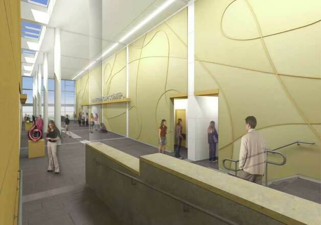 This artist's rendering shows the interior lobby of the envisioned Greenwich High School auditorium and music instructional space. Photo: Contributed Photo, ST / Greenwich Time Contributed