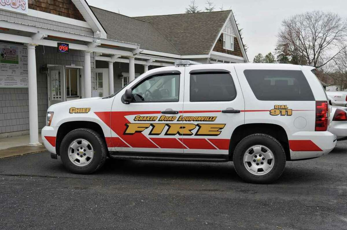 A Shaker Road Loudonville Fire Department SUV sits in front of Scoops ice cream shop on Albany Shaker Road in Colonie, N.Y., on Tuesday April 19, 2011. (Lori Van Buren / Times Union)