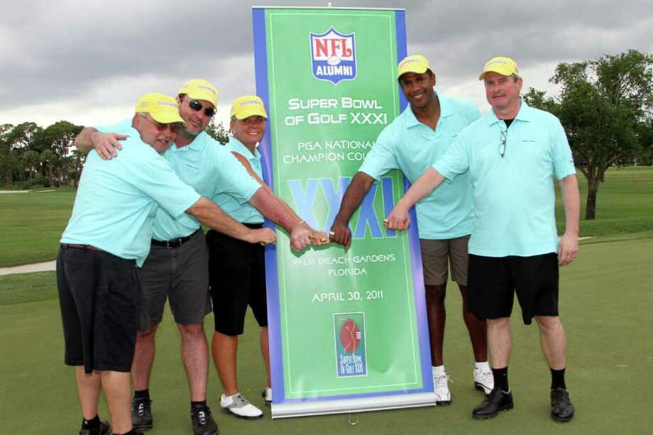 Members of the NFL Alumni Connecticut Chapter team that won the NFL Alumni's Super Bowl of Golf title are, from left, Armond Liquori of Stamford, Dr. Chris Burden of Norwalk, Gina Zangrillo of New Canaan, NFL Hall of Famer Mike Haynes and Shaun Malloy of Stamford. Photo: Amy Glanzman;Contributed Photo, Contributed Photo / Stamford Advocate Contributed