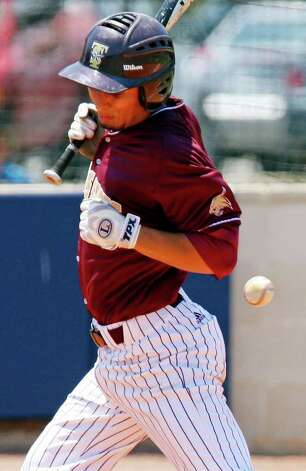 FOR SPORTS - Texas State's Christian Gallegos reacts after getting hit by a pitch during the third inning Sunday May 8, 2011 at Roadrunner Field. Texas State won 7-6. (PHOTO BY EDWARD A. ORNELAS/eaornelas@express-news.net) Photo: EDWARD A. ORNELAS, Edward A. Ornelas/Express-News / SAN ANTONIO EXPRESS-NEWS (NFS)