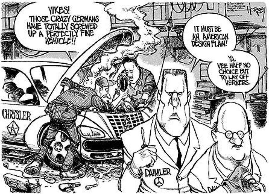 Auto wars - Originally published on February 1, 2001 Photo: David Horsey, Seattlepi.com