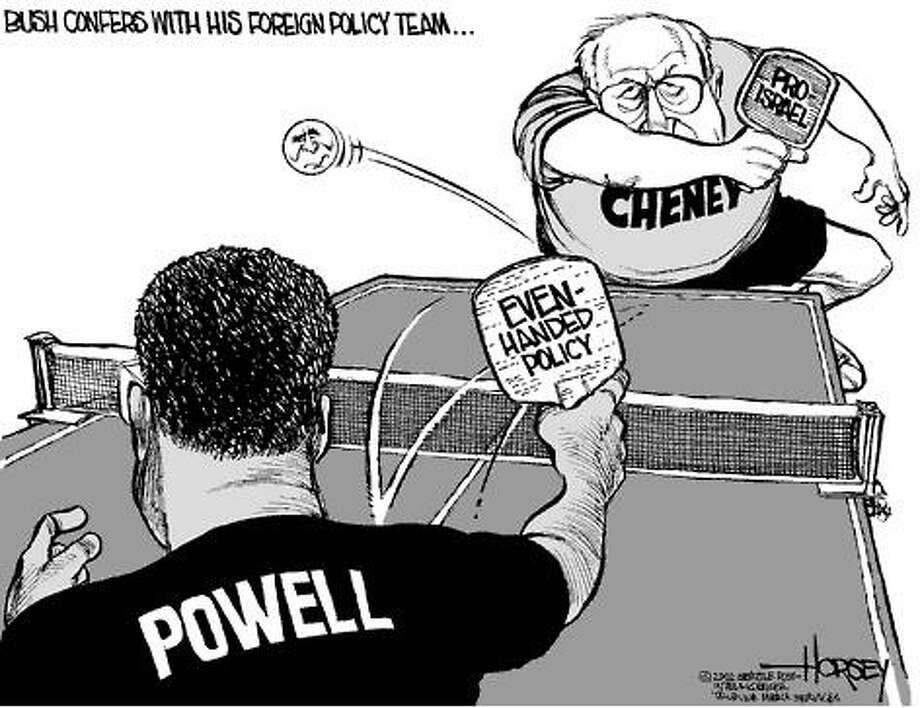 Bush Consults His Foreign Policy Team - Originally published on May 1, 2002 Photo: David Horsey, Seattlepi.com