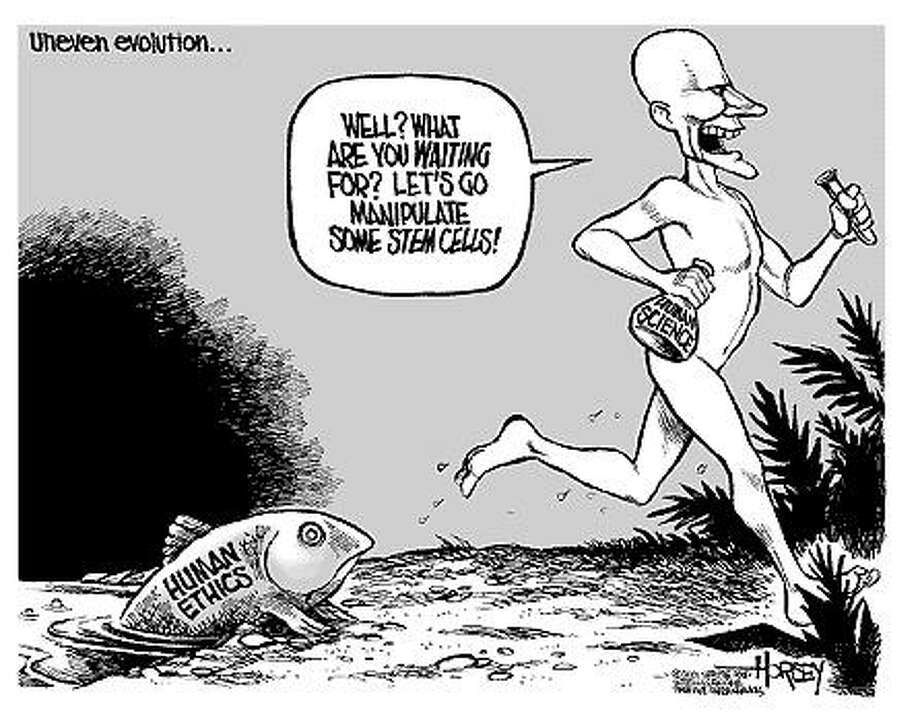 Uneven evolution... - Originally published on August 16, 2001 Photo: David Horsey, Seattlepi.com
