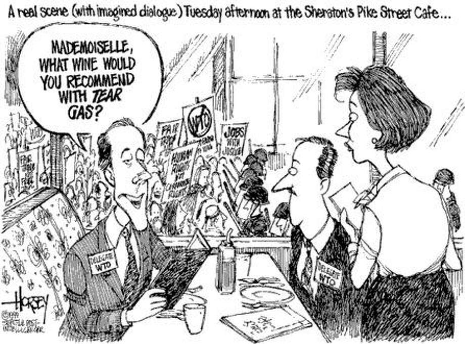 Lunch Downtown During WTO - Originally published on December 1, 1999 Photo: David Horsey, Seattlepi.com