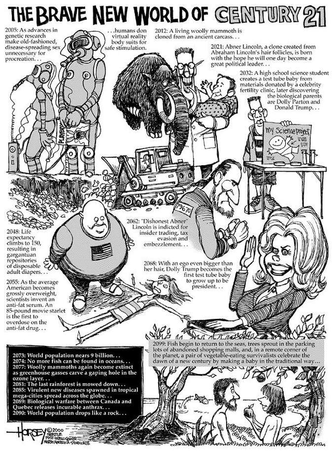 The Brave New World of Century 21 - Originally published on January 1, 2000 Photo: David Horsey, Seattlepi.com