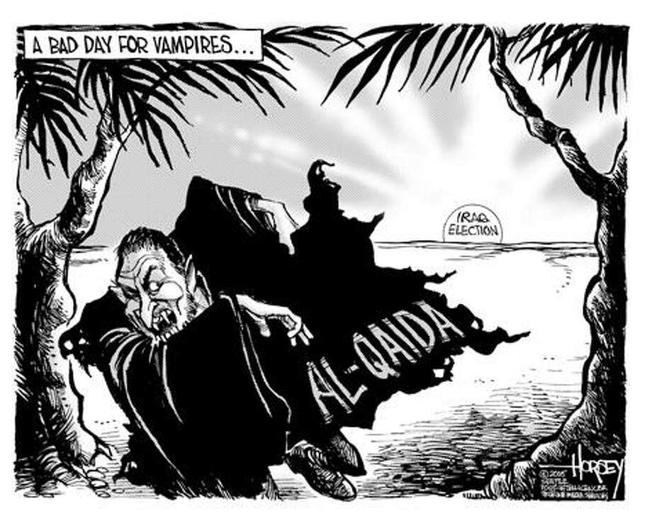 A bad day for vampires... - Originally published on February 1, 2005 Photo: David Horsey, Seattlepi.com