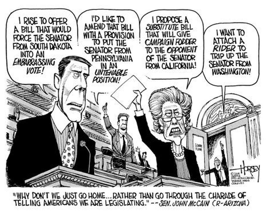 'The charade of telling Americans we are legislating' - Originally published on May 2, 2004 Photo: David Horsey, Seattlepi.com