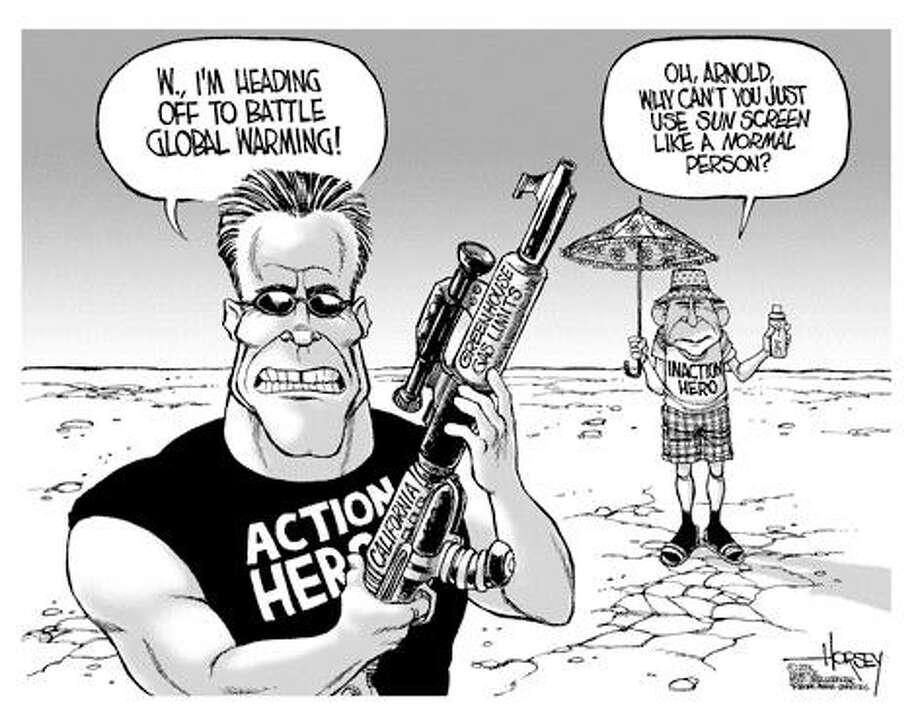 Arnold battles global warming... - Originally published on September 1, 2006 Photo: David Horsey, Seattlepi.com
