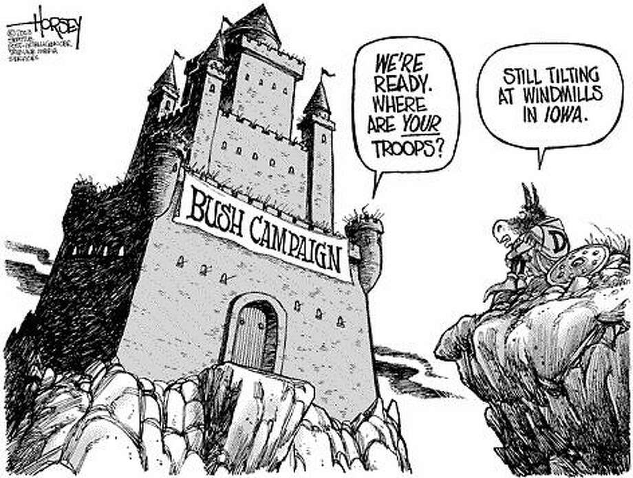 The Assault on Fortress Bush - Originally published on December 3, 2003 Photo: David Horsey, Seattlepi.com